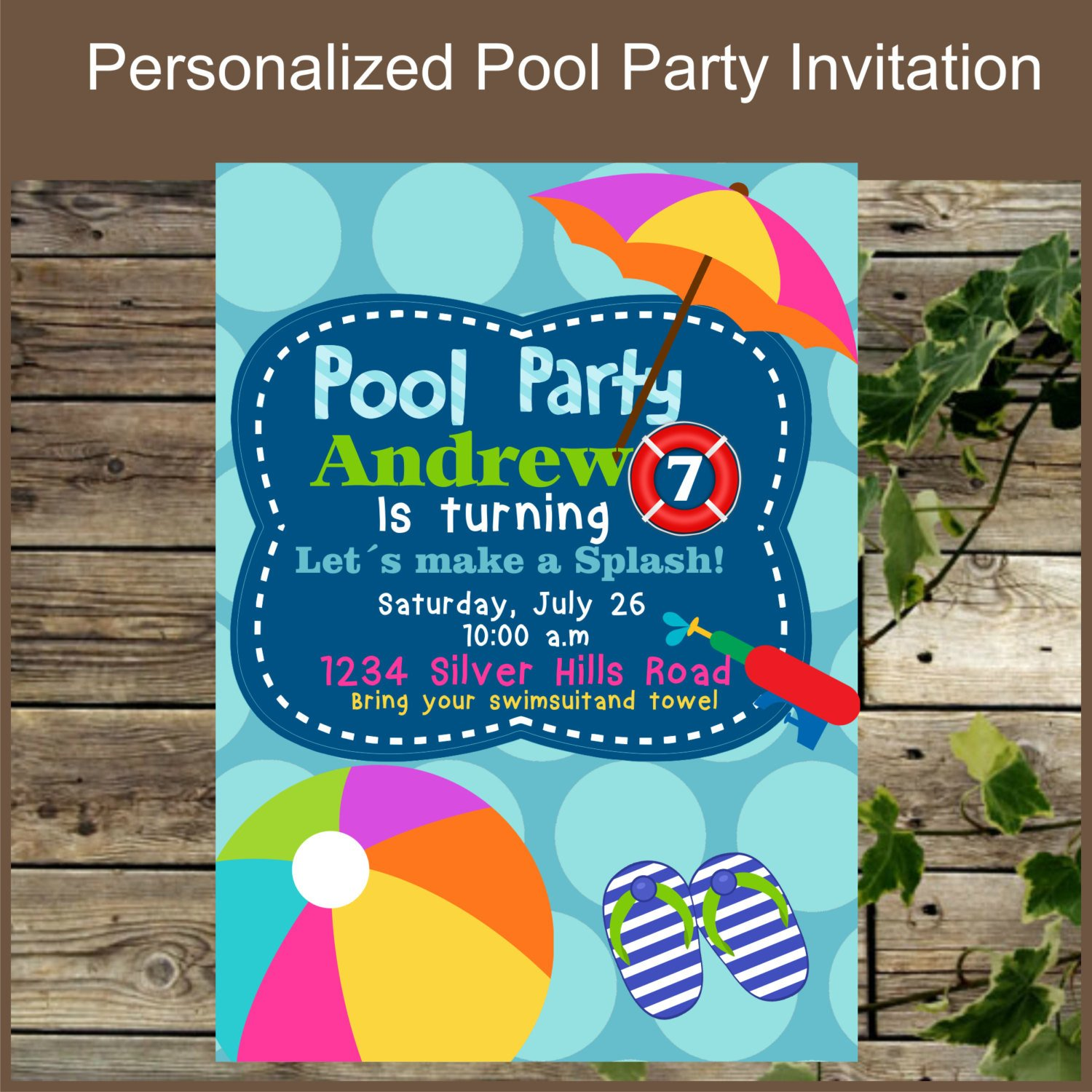 Printable Pool Party Invitations Printable Pool Party Invitation Birthday Invitation for