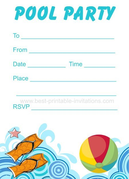Printable Pool Party Invitations Printable Pool Party Invitation