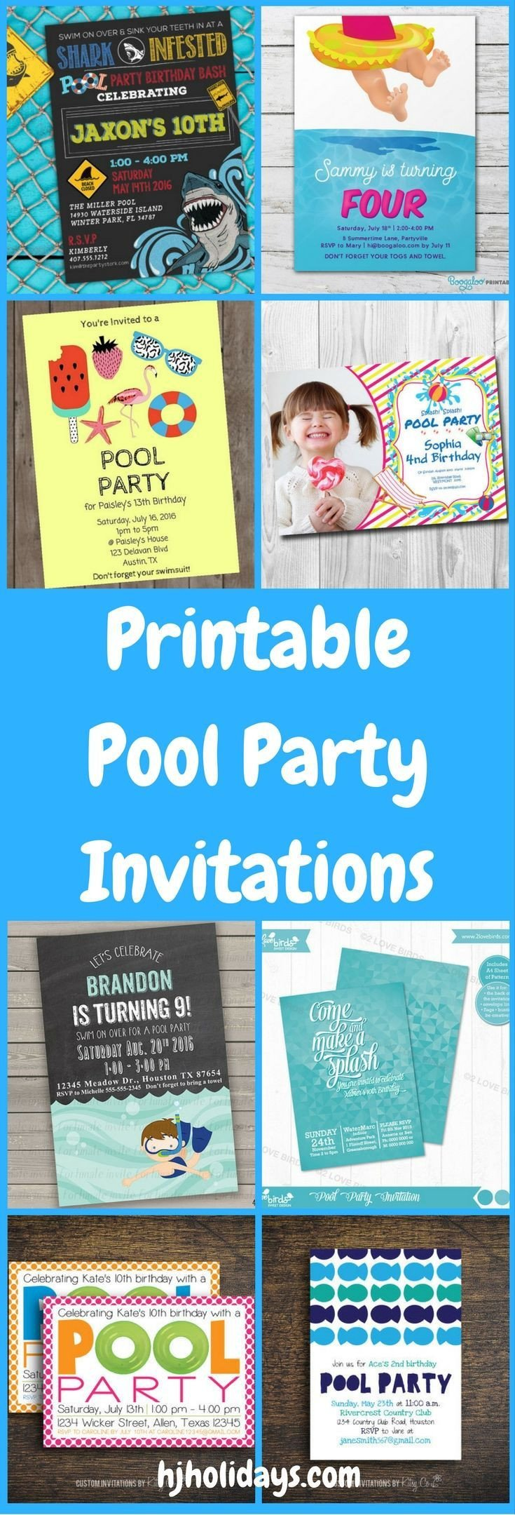 Printable Pool Party Invitations Printable Pool Party Invitations for Kids