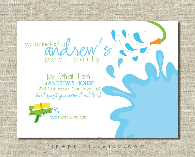 Printable Pool Party Invitations Splash Swim Pool Party Printable Invitation