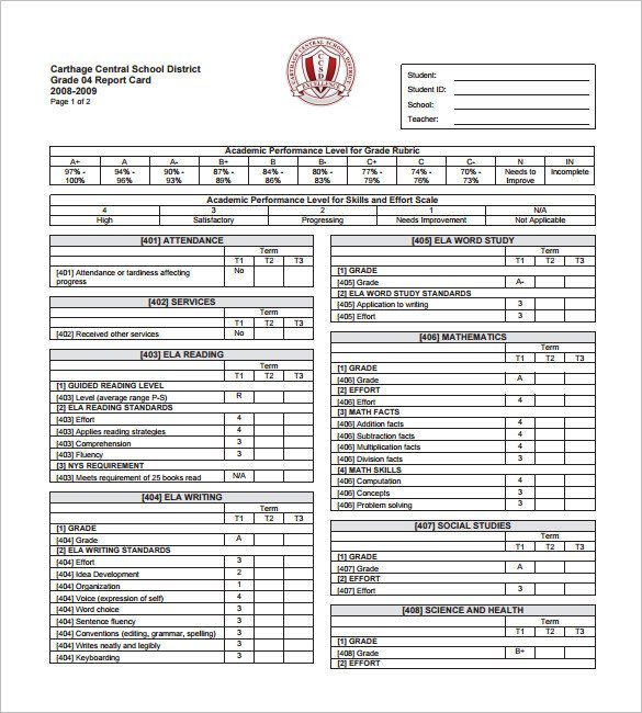 Printable Report Card Template 27 Progress Report Card Templates Google Doc Pdf Psd