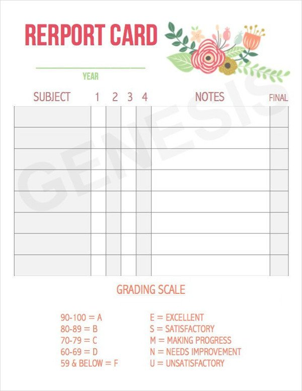 Printable Report Card Template 60 Card Designs