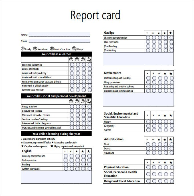 Printable Report Card Template Report Card Template 28 Free Word Excel Pdf Documents