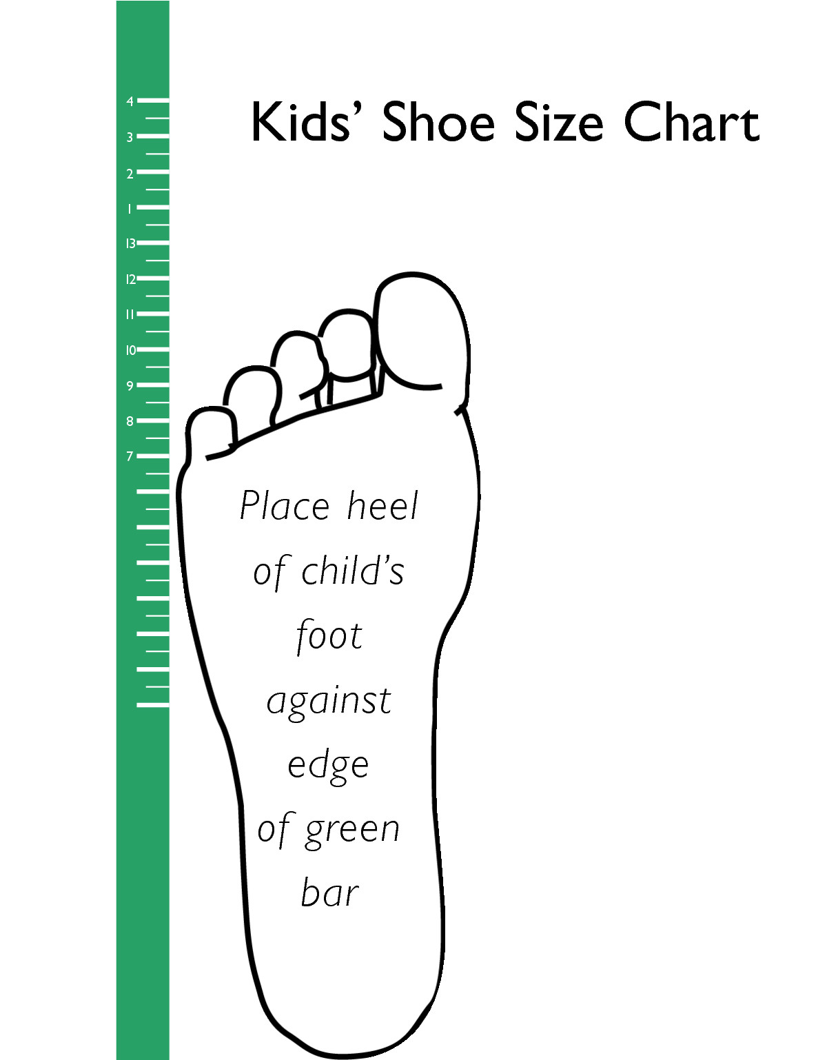 Printable Shoe Size Chart Printable Kids Shoe Size Chart