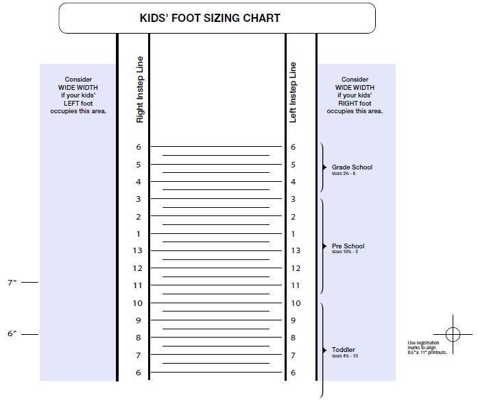 Printable Shoe Size Chart Printable Shoe Size Chart