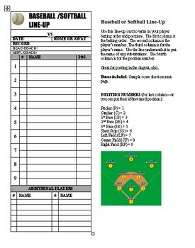 Printable softball Lineup Cards Baseball softball Line Up Roster Card Pdf for Coaches