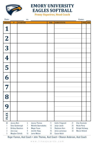 Printable softball Lineup Cards Custom College softball Lineup Cards