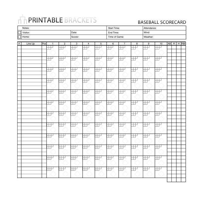 Printable softball Score Sheet 30 Printable Baseball Scoresheet Scorecard Templates