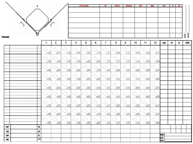 Printable softball Score Sheet Baseball Score Sheets Free Printable Word Excel Pdf