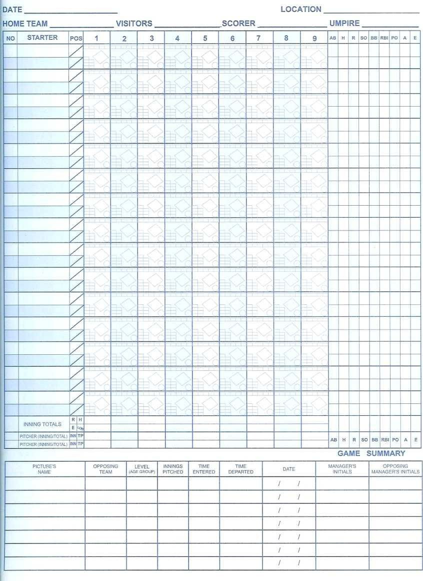 Printable softball Score Sheet Free Printable softball Scorebook Sheets
