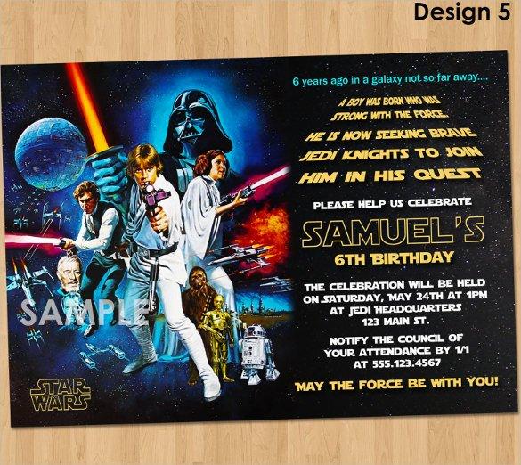 Printable Star Wars Invitation 20 Star Wars Birthday Invitation Template Word Psd