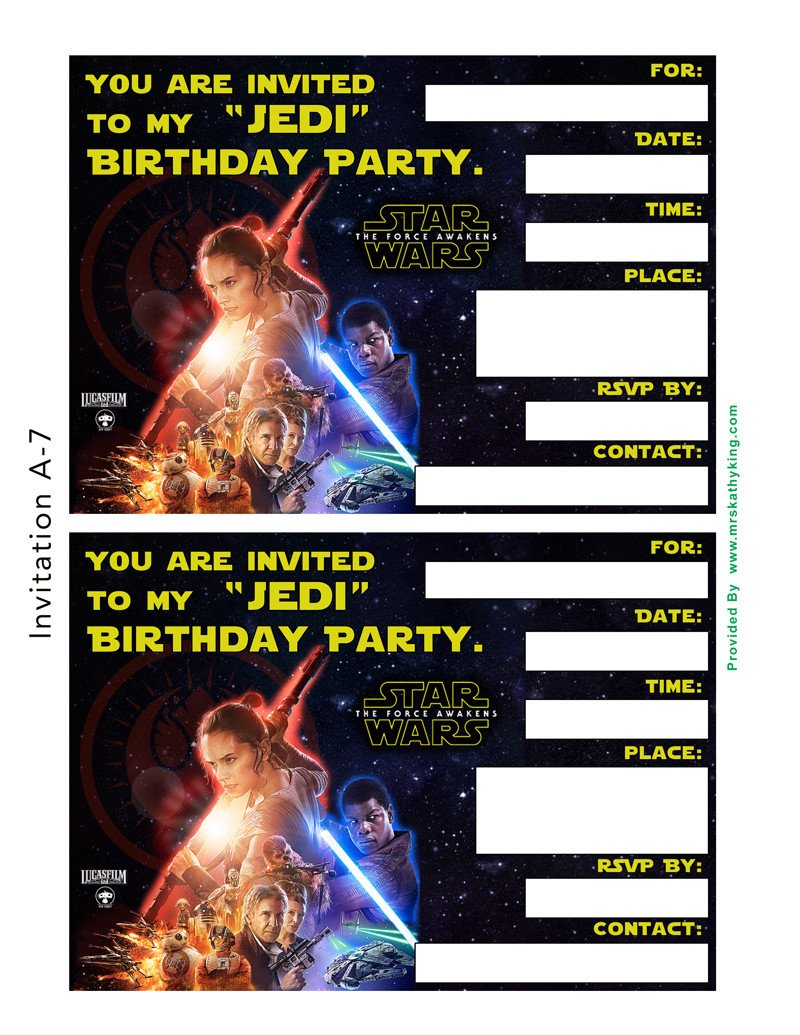 Printable Star Wars Invitation Free Star Wars the force Awakens Printable Party