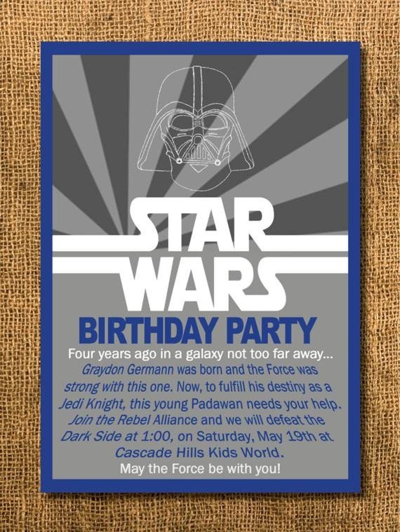 Printable Star Wars Invitation Star Wars Birthday Invitation Printable by Graysgraphicdesigns