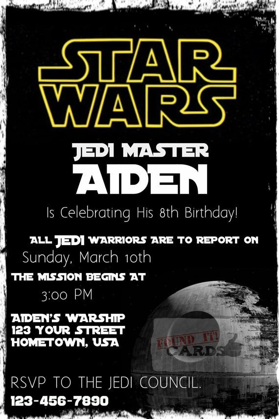 Printable Star Wars Invitation Star Wars Birthday Party Invitation Fully by Founditcards