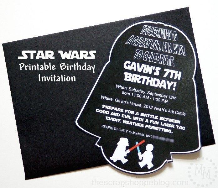 Printable Star Wars Invitation Star Wars Darth Vader Printable Birthday Invitation