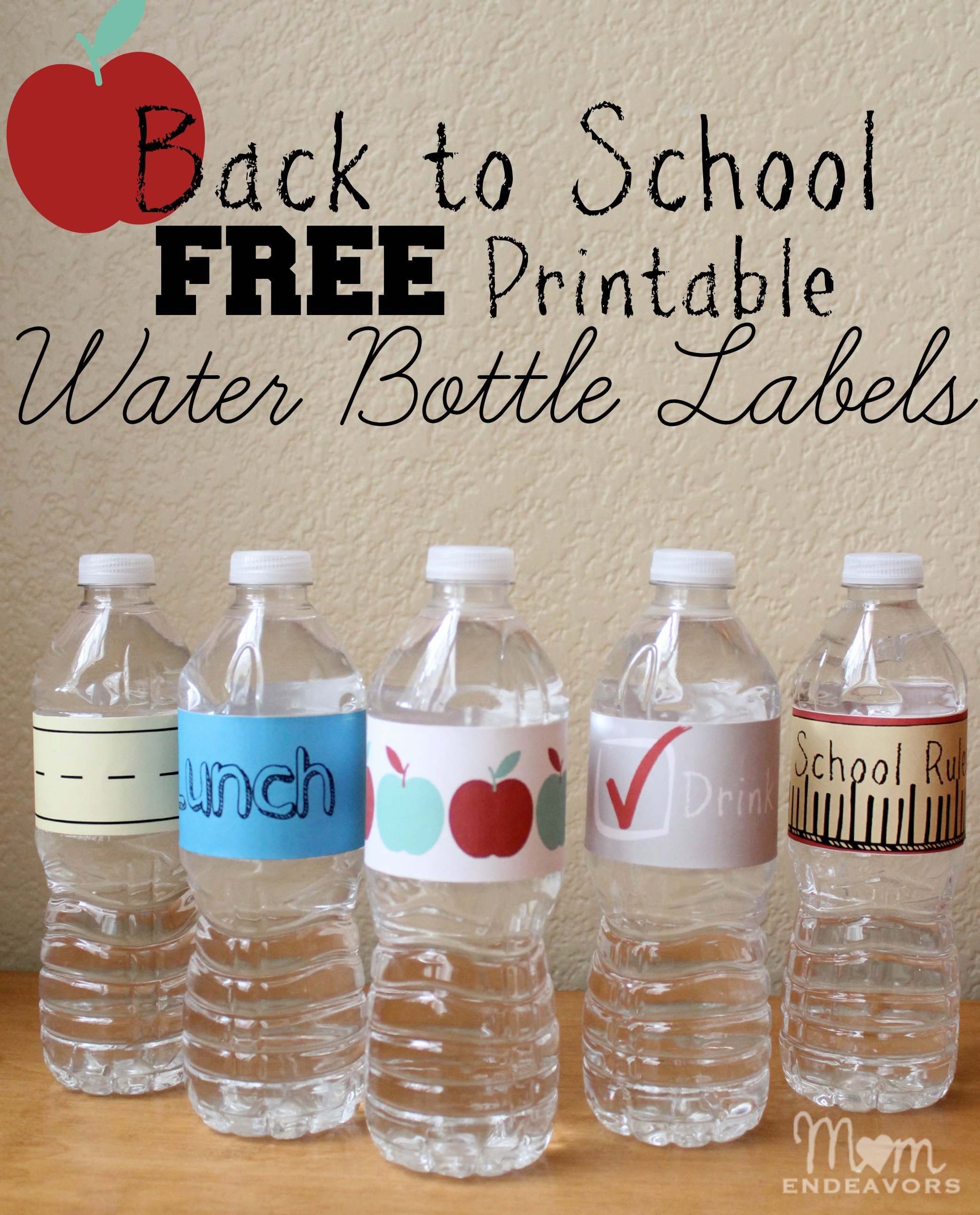 Printable Water Bottle Labels Convenient & Fun Drinks for Back to School Lunches with