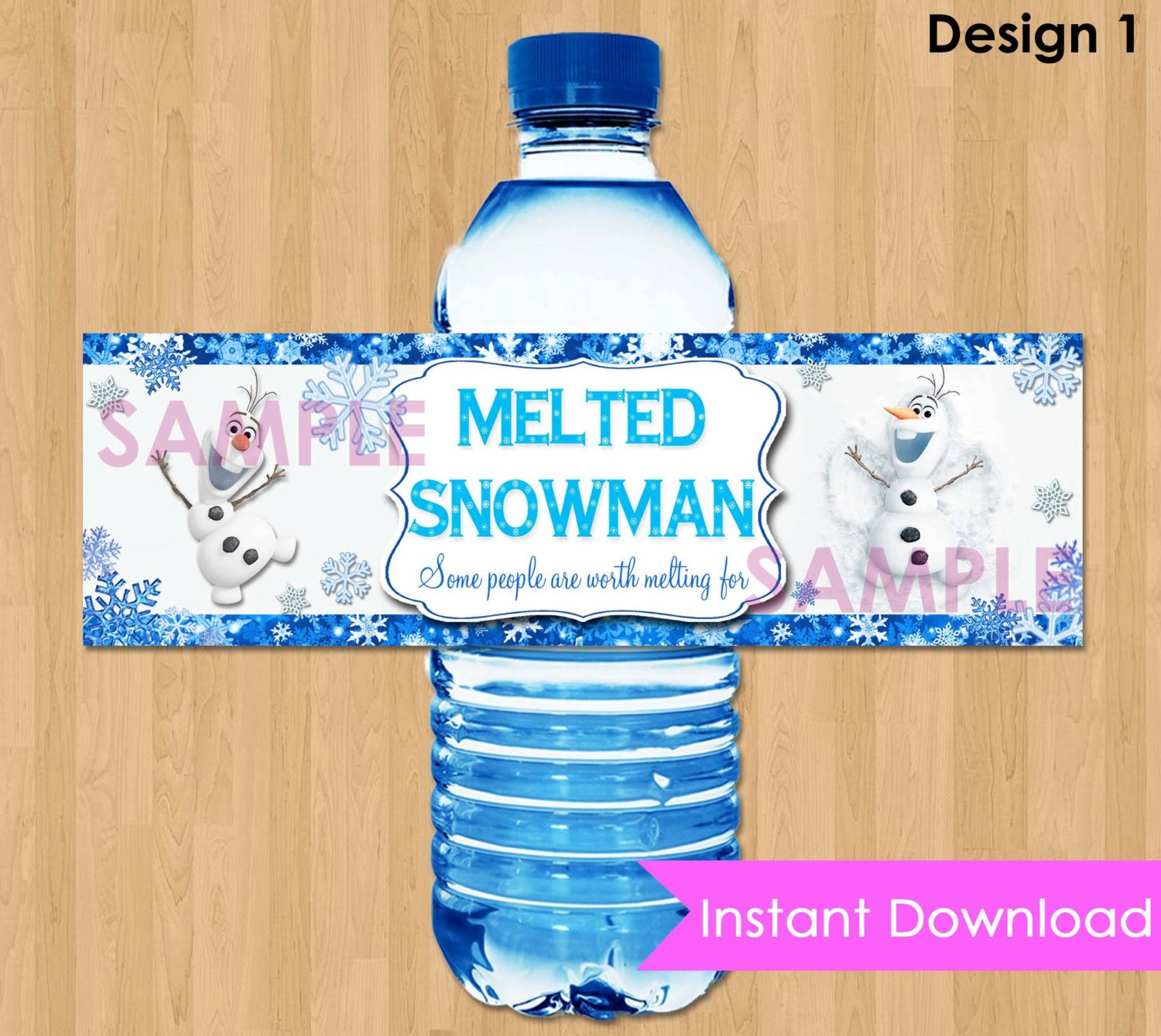 Printable Water Bottle Labels Disney Frozen Bottle Labels Instant Download 2 5x8