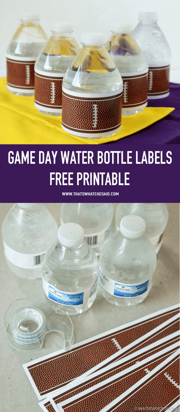 Printable Water Bottle Labels Football Water Bottle Labels that S What Che Said