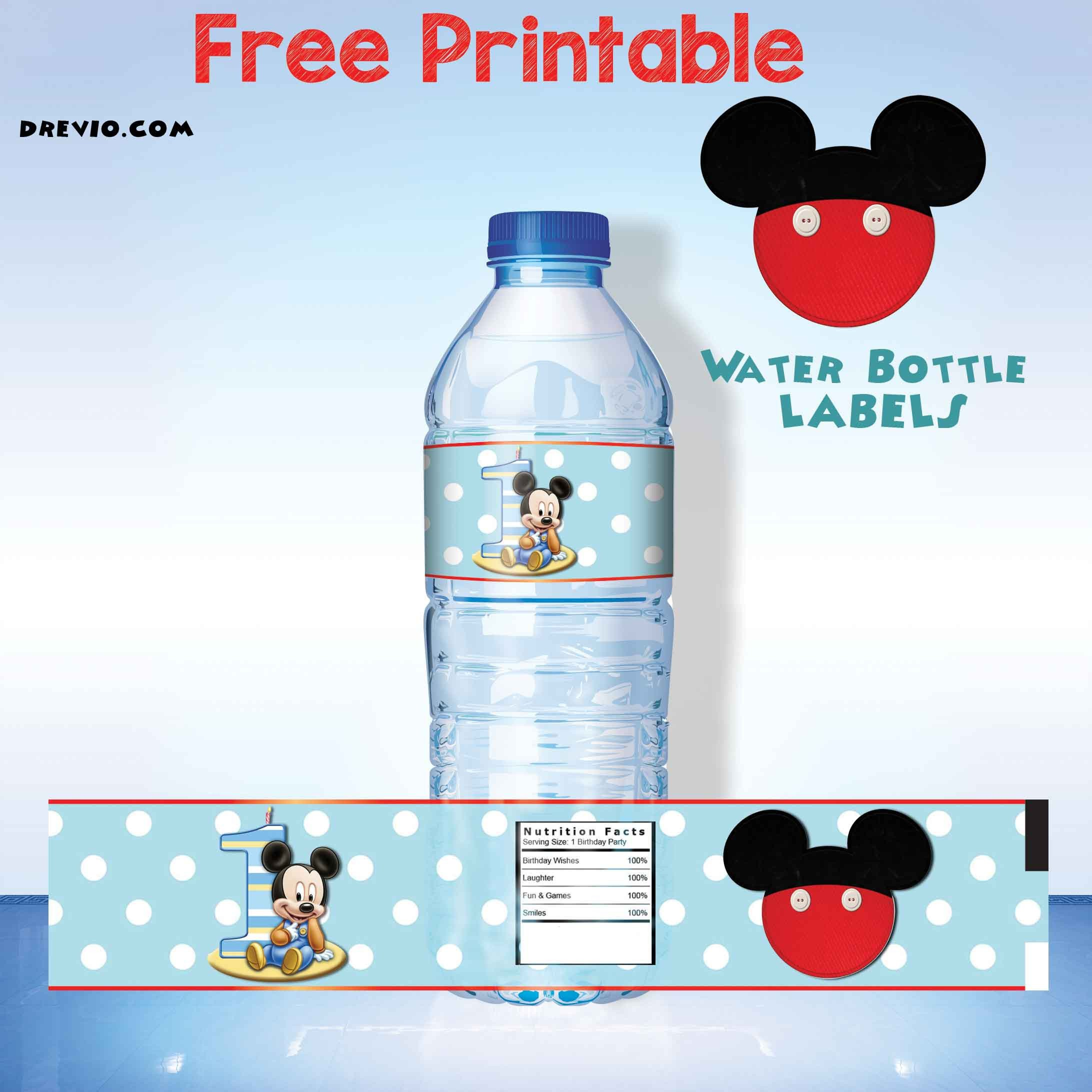 Printable Water Bottle Labels Free Printable Mickey Mouse Water Bottle Label