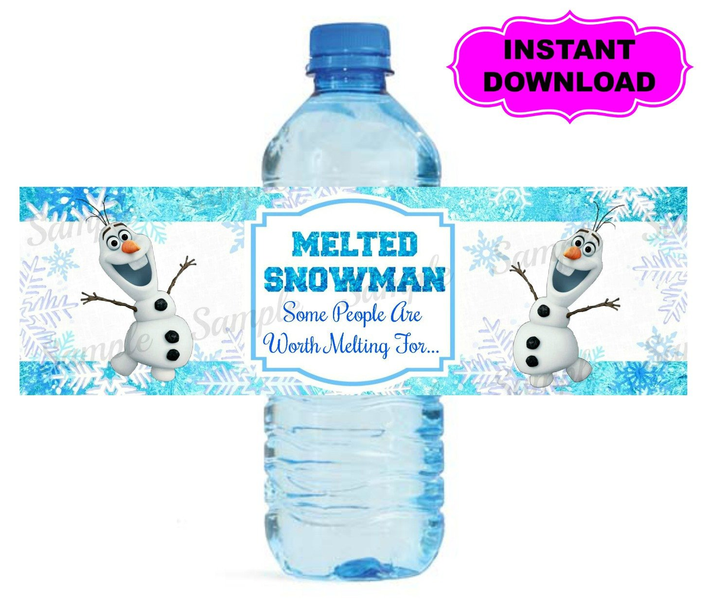 Printable Water Bottle Labels Frozen Water Bottle Label Printable Digital by Kidspartypixel