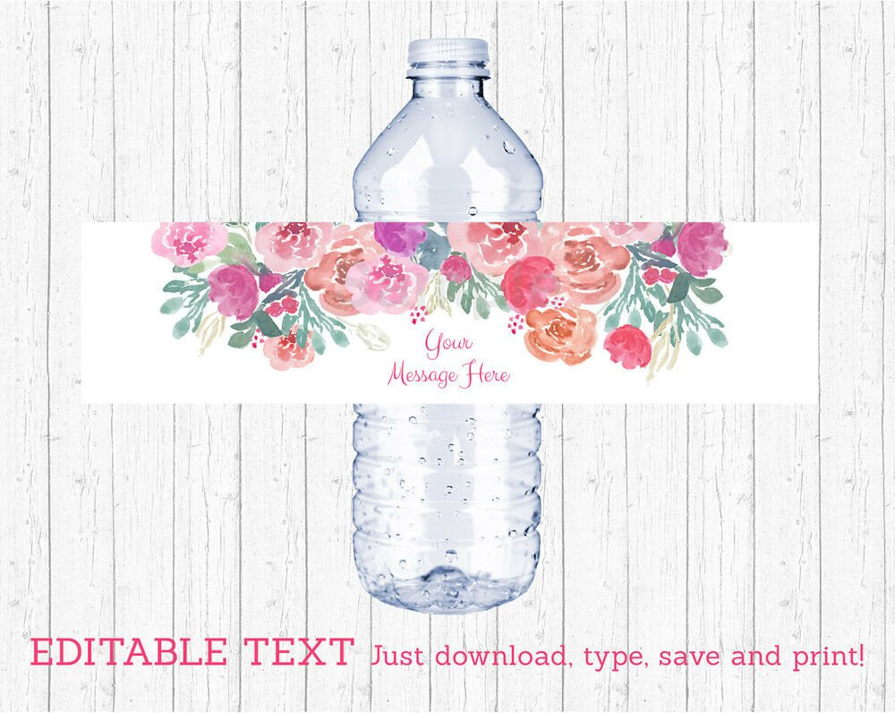 Printable Water Bottle Labels Pink Watercolor Flowers Water Bottle Labels Printable