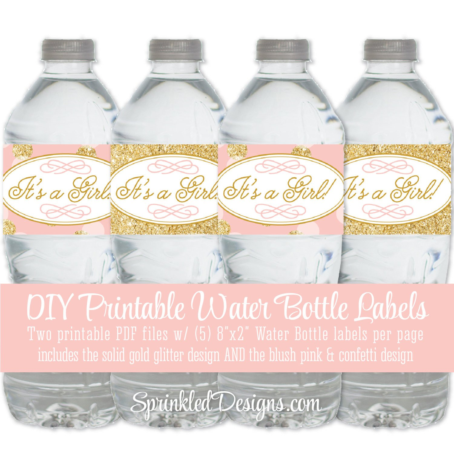 Printable Water Bottle Labels Printable Baby Shower Water Bottle Labels It S A Girl