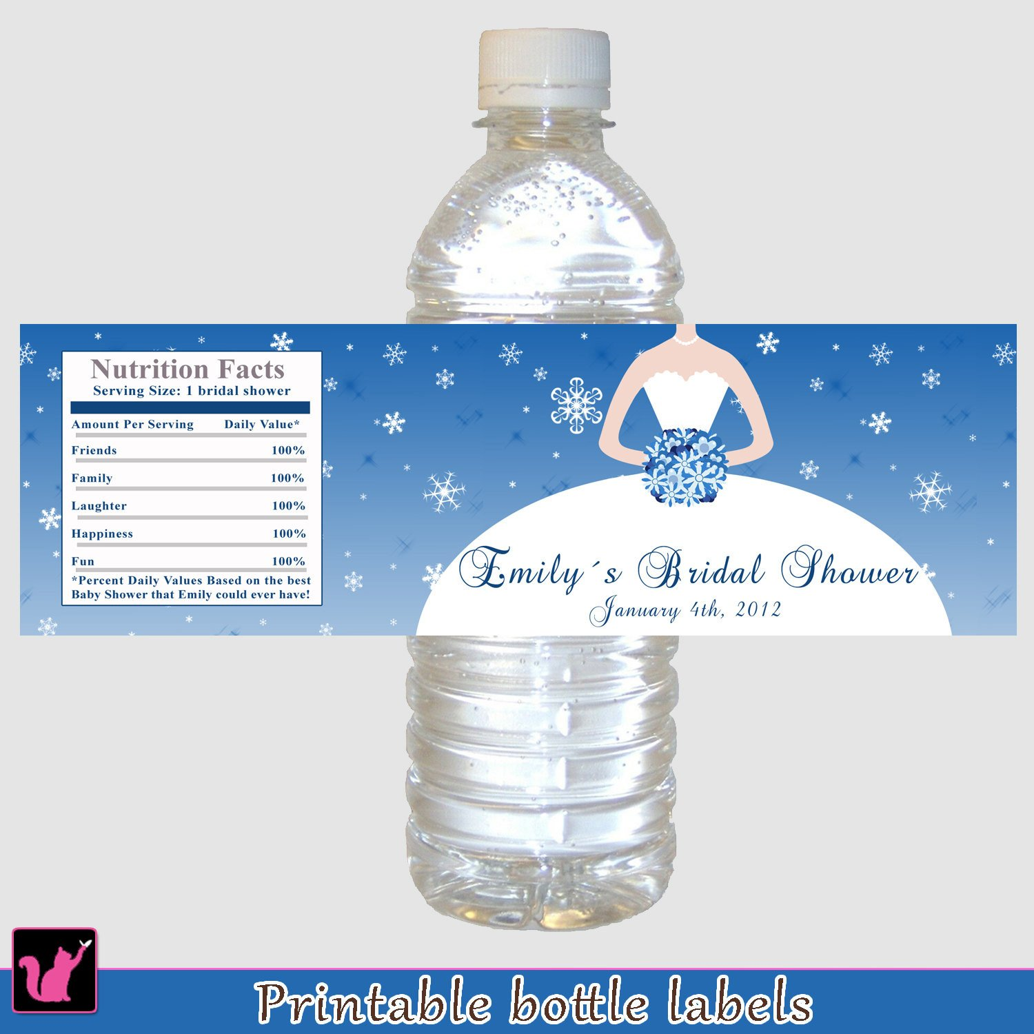 Printable Water Bottle Labels Printable Personalized Bridal Shower Water Bottle Labels