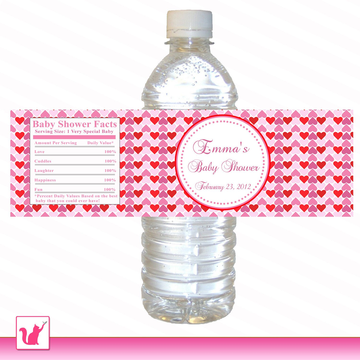 Printable Water Bottle Labels Printable Personalized Valentines Love Day Water Bottle Labels