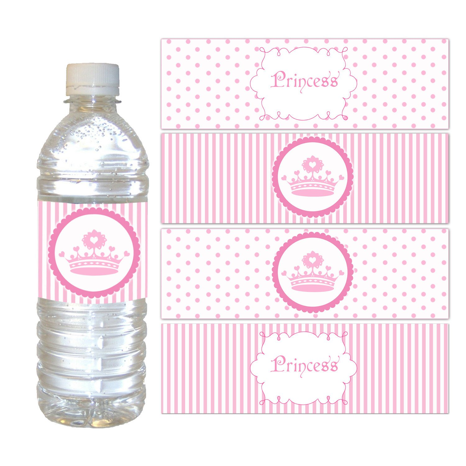 Printable Water Bottle Labels Printable Pink Polka Dots Stripes Princess Crown Water Bottle