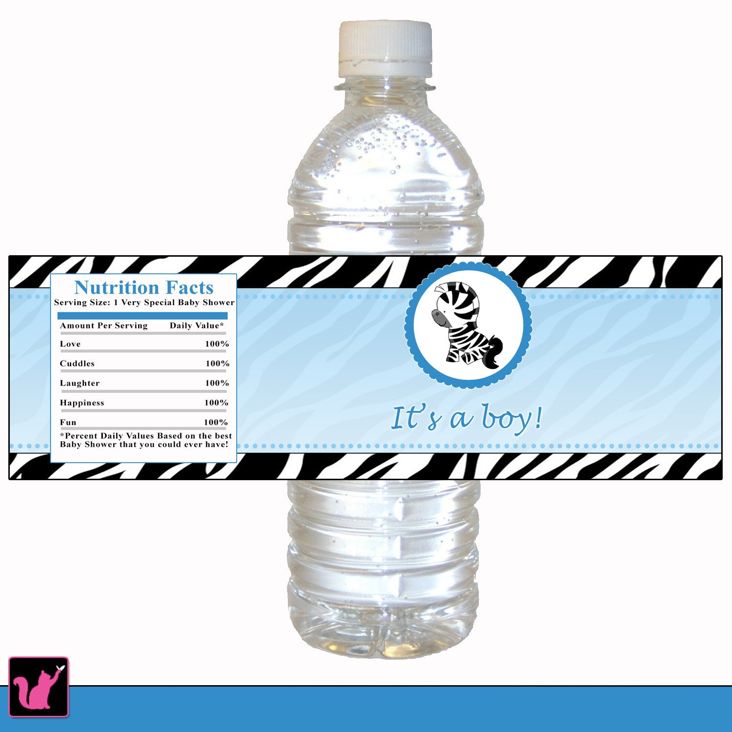 Printable Water Bottle Labels Zebra Bottle Label Zebra Baby Shower Bottle Label Printable