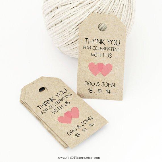 Printable Wedding Favor Tags Favor Tag Template Printable Small Double Heart Design