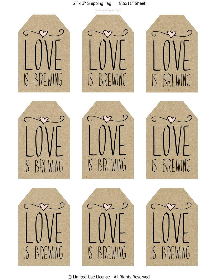 Printable Wedding Favor Tags Printable Wedding Favor Tags Love is Brewing Printable Tags