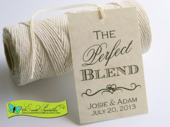 Printable Wedding Favor Tags the Perfect Blend Printable Wedding Favor Tag Diy Coffee