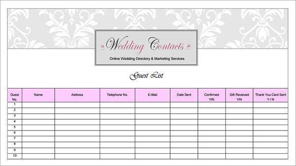 Printable Wedding Guest List 17 Wedding Guest List Templates Pdf Word Excel