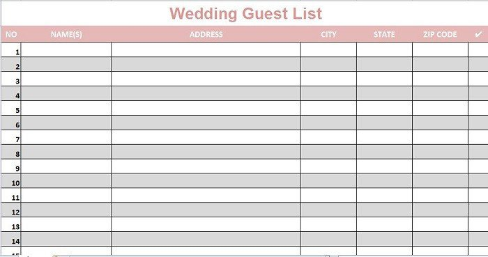 Printable Wedding Guest List 35 Beautiful Wedding Guest List & Itinerary Templates