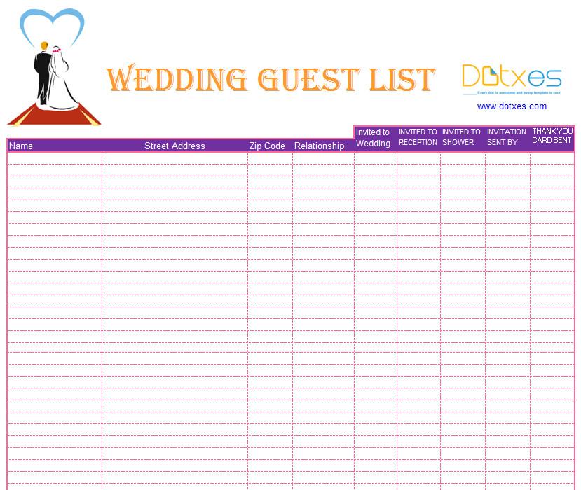 Printable Wedding Guest List Blank Wedding Guest List Template Dotxes