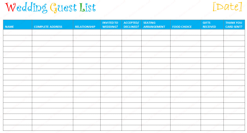 Printable Wedding Guest List Free Editable Wedding Guest List Templates – Document