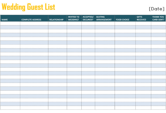 Printable Wedding Guest List Free Printable List Templates