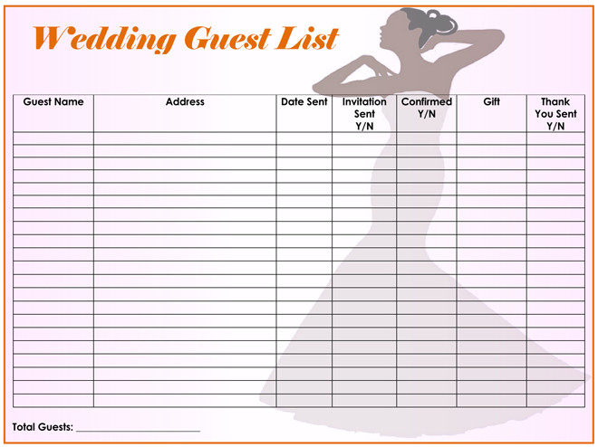 Printable Wedding Guest List Free Wedding Guest List Templates for Word and Excel