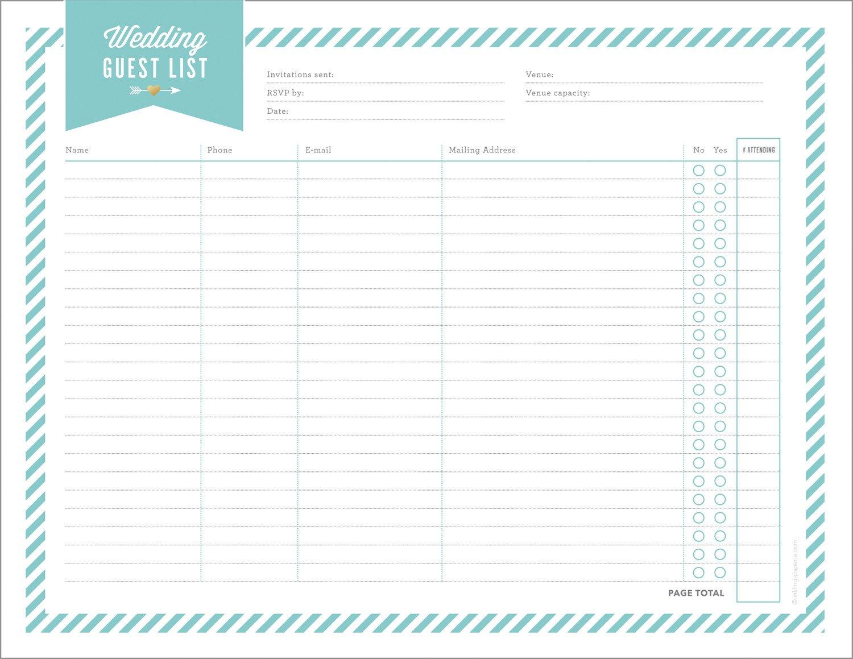 Printable Wedding Guest List Free Wedding Planning Printables & Checklists