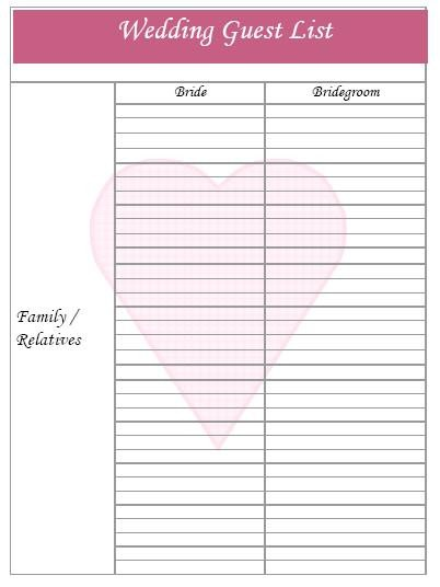 Printable Wedding Guest List Wedding Guest List