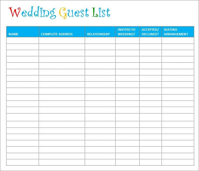Printable Wedding Guest List Wedding Guest List Template 6 Free Sample Example