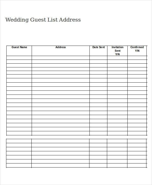 Printable Wedding Guest List Wedding Guest List Template 9 Free Word Excel Pdf