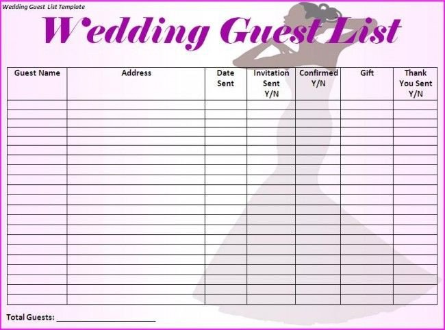 Printable Wedding Guest List Wedding Guest List Template I Would Make Just A Few More
