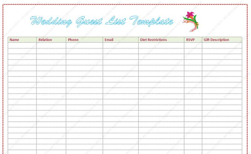 Printable Wedding Guest List Wedding Guest List Template Word Dotxes