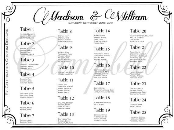 Printable Wedding Seating Chart 30 Best Images About Seating Chart On Pinterest