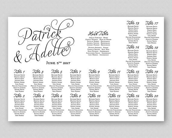 Printable Wedding Seating Chart Calligraphy Seating Chart Sign Poster Board Wedding Seating