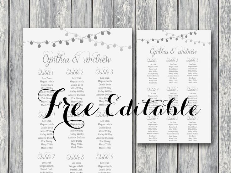 Printable Wedding Seating Chart Free Editable Wedding Seating Chart Template Printable
