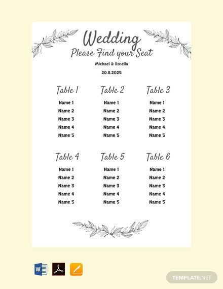 Printable Wedding Seating Chart Free Printable Wedding Seating Chart Template Download