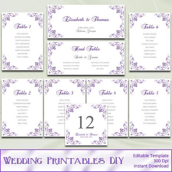 Printable Wedding Seating Chart Printable Wedding Seating Chart Template Diy Purple Silver
